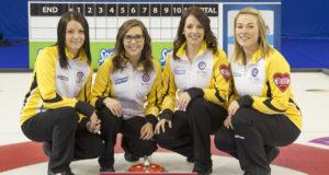 Team Manitoba Manitoba Skip:Kerri Einarson Third:Selena Kaatz Second:Liz Fyfe Lead:Kristin MacCuish at the 2016 Scotties Tournament of Hearts, the Canadian Womens Curling Championships, Grande Praire, Alberta